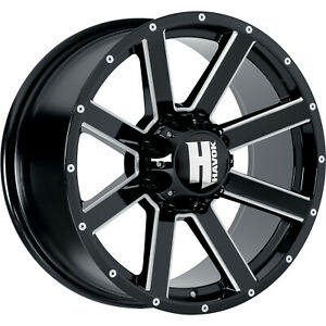 22x11 Black Milled Havok H107 Wheels 6x135 24 Lifted Fits Ford Expedition