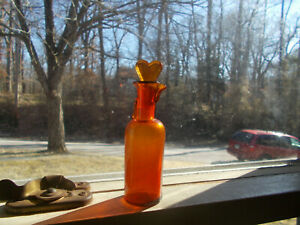 1890s Amber Ether Medical Anesthesia Bottle With Heart Stopper Pour Spout Lip