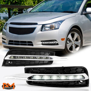 For 10 14 Chevy Cruze Clear Lens Led Drl Front Bumper Fog Light lamp bezel Pair