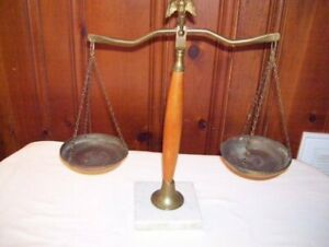 Vintage Brass Wood Balance Scale On Marble Square Base