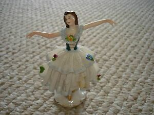 Dresden Germany Dancing Ballerina Figurine Two Layer Ruffle Dress Arms Out Blue