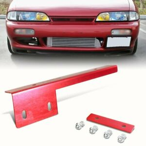 Red Brushed Aluminum Front License Plate Relocate Mounting Bracket Universal E