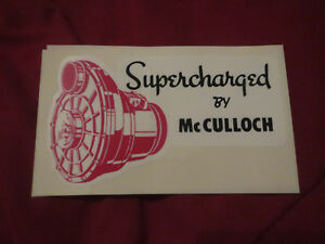 Mcculloch Supercharger Supercharged By Mcculloch Vintage Logo Decal Sticker