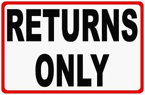 Returns Only Sign Size Options Return Line Customer Customers Point Of Sale
