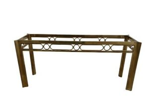 Vintage Mastercraft Brass Glass Console Table Hollywood Regency Mcm