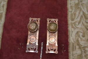 Antique Vintage Aesthetic 1 Set Of Solid Brass Door Knobs And Face Plates 36