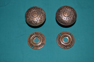 Antique Vintage Set Of Brass Door Knobs And Matching Brass Rosettes 86