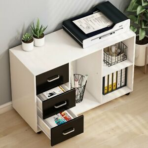 Home Office Large Modern Filing Cabinet With Open Storage Spaces And 3 Drawers