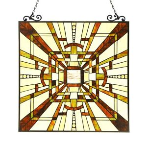 Tiffany Style Stained Glass Window Panel Mission Arts Crafts 24 5 X 26