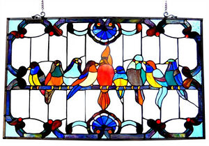 Matching Pair Singing Birds Stained Glass Window Panel 32 Long X 20 High
