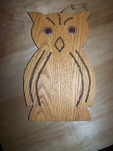 Wooden Wood Oak Owl Cutting Board Antique Vintage Vgc