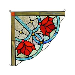 Tiffany Style Stained Glass Roses Corner Window Panels 10 X 10 Handcrafted Pair