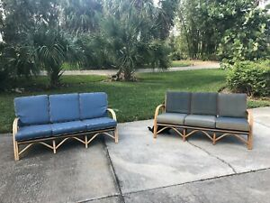 Mid Century Modern Vintage Antique Rattan Bamboo Sofa Couch Pair Vogue Casual