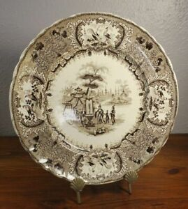 David Johnston Antique French Brown Transferware Plate Bordeaux 3c