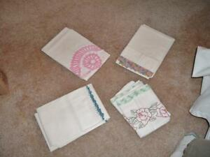 4 Vintage Pillowcases Embroidered Fancy Great Condition White With Color Nice