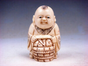Bone Detailed Hand Carved Japan Netsuke Sculpture Boy Bamboo Basket 03311901