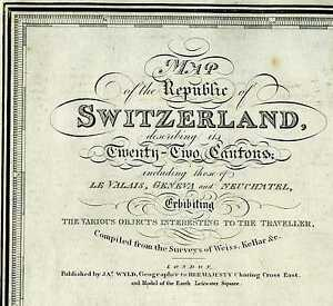 Wyld Map Republic Switzerland Describing Its 22 Cantons Engraving Hand Coloring