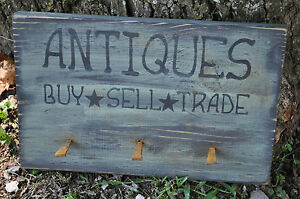 Primitive Antiques Wood Sign 3 Rusty Nails Hanger Folk Art