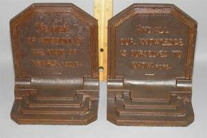 Antique B H Bradley And Hubbard Bronzed Cast Iron Bookends Quotes Young Pope