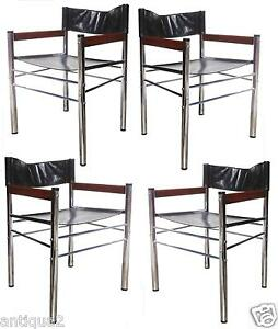 Set Of 4 Mid Century Modern Chrome Rosewood Faux Leather Dining Arm Chairs