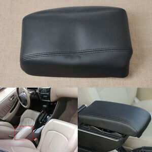 Fit For 98 02 Honda Accord Black Leather Center Console Lid Armrest Cover Skin