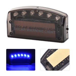 Solar 6 Led Blue Car Security Burglar Alarm Warning Anti Theft Flash Light Lamp