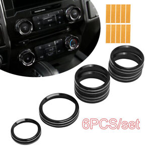 6pcs Air Conditioner Audio Switch Knob Ring Cover Trim For Ford F150 2016 2018