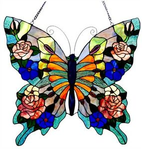 Stained Glass Window Panel 22 T X 24 W Colorful Tiffany Style Butterfly Design