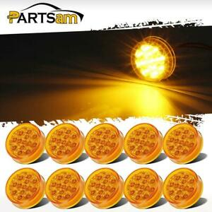 10x 2 5inch Round 13led Amber Side Marker Trailer Truck Rv Waterproof Lights
