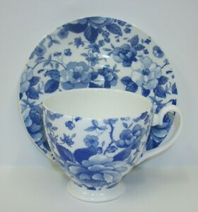 Vintage Ps Bone China Cup Saucer Set Blue Roses Made In England