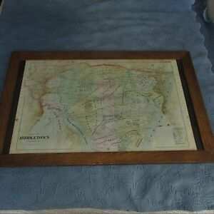 Antique Framed 1890 S Map Of Middletown Twp Monmouth County Nj School Districts