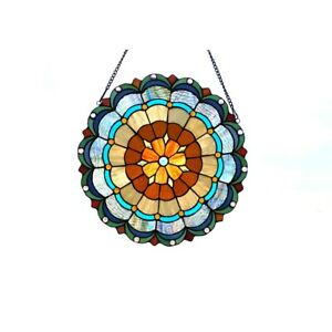 Tiffany Style Stained Glass Window Panels Multi Colors Round 18 Diameter Pair