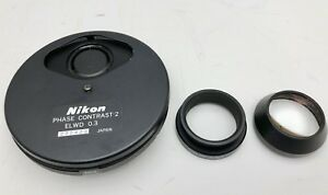 Nikon Diaphot Microscope Phase Contrast 2 Elwd 0 3 Turret condenser Lens Phl1 3
