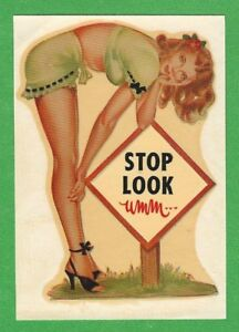 Vintage Original 1948 stop Look Umm Hot Rod Biker Sexy Pinup Water Decal Art