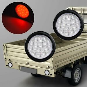 2x 4 Round Red 12 Led Trailer Tail Lights Stop Turn Brake W Grommet Clear Lens