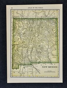 1911 Hammond Map New Mexico Santa Fe Taos Albuquerque Roswell Gallup Cimarron