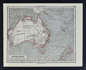 1880 Sydow Map Australia New Zealand Sydney Melbourne Adelaide Alexandra Land