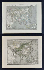 1880 Sydow Maps X 2 Physical Political Asia China Japan India Arabia Tibet