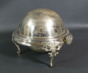 Victorian Silverplate Domed Roll Top Caviar Server Butter Dish Bowl Satyr Ornate