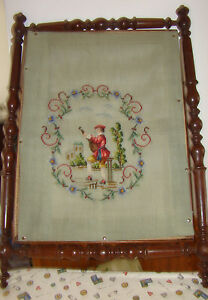 Antique Victorian Tapestry Holder Reversible Period Walnut Wood Frame