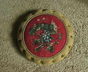 Antique Victorian Foot Stool Beaded Embroidered Grapevine Footstool Bun Feet
