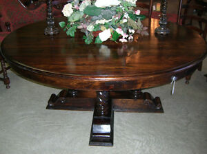 Antique Style Country French Barley Twist 72 Round Hardwood 8 Seat Dining Table