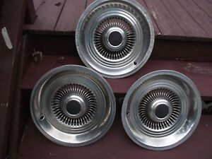 Three Vintage 15 Black Center Hubcaps Ford Chevy Chysler 2 Good 1 Rough