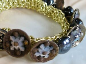 Antique Victorian Mother Of Pearl Cut Steel Button Crocheted Stretch Bracelet