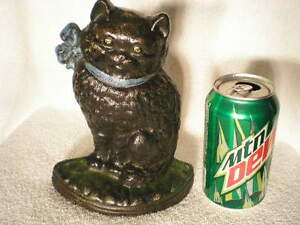 Antique National Foundry Cast Iron Cat W Bow Home Art Statue Doorstop Free Ship