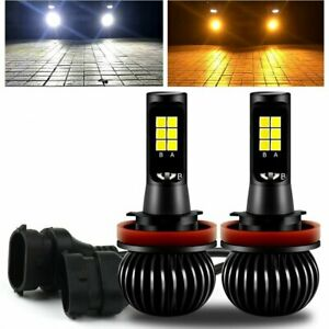 Pair 160w H8 H11 Led Fog Light Bulb Dual Color Switchback Amber White 1300lm