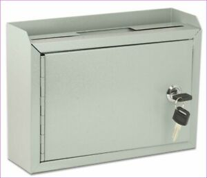 Aluminum Drop Box Suggestion Mail Comment Ballet Key lock Wall Mount Office Hom