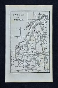 1830 Nathan Hale Map Sweden Norway Finland Stockholm Oslo Christiansand Baltic
