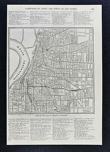 1917 Map Memphis City Plan Downtown Beale Street Union Poplar Tennessee Tn