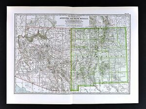 1898 Century Atlas Map Arizona New Mexico Santa Fe Taos Pheonix Tuscon Mesa